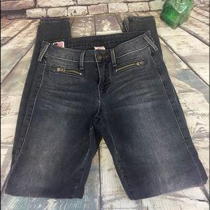 True Religion Gray Skinny Ankle Zip Jeans